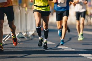 Runners run urban marathon in the the city